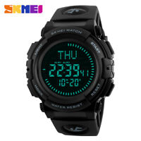 Military Men's Compass Watch Digital Sport LED Countdown World Time Sport Watch