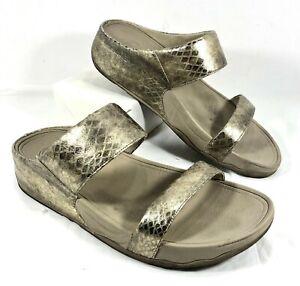 GUC Women's FitFlop Slides Sandals Gold leather LULU Metallic Snake Sz 10