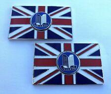 Paar Triumph Union Jack Gb Messing Emaille Oldtimer Kennzeichen - Selbstklebend