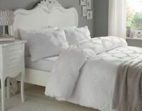 RUCHED CIRCLES WHITE 180 THREAD COUNT 100% COTTON KING SIZE DUVET COVER