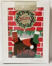 Believe Merry Christmas Cards Box of 12 Handcrafted Cards Glitter Foil HoHoHo