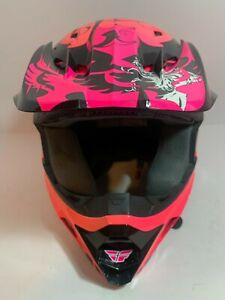 Fly Racing Pink Motocross Motorcycle Helmet w/ Visor DOT Size Extra Small XS