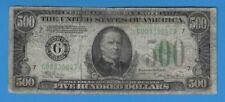 1934 A Federal Reserve Chicago $500 Five Hundred Dollar Note FR# 2202-G