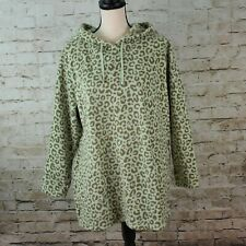 Denim & Co Leopard Sage Animal Print Fleece Hooded Pullover Tunic Sz LP A345269