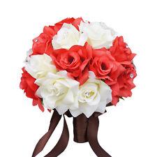 "10"" Bridal Bouquet-Wedding Silk flower Ivory Coral Reef"