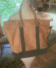 LL Bean Large Canvas Tote Leather Handles Plaid Lining #OWY72 Brown Green Canvas