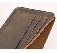 Handmade Genuine Crazy Horse Vintage Cash Retro Leather Men's Wallet Purse Card