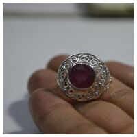 925  Silver Natural  Certified 9.25 Carat Ruby Gemstone Vintage Handmade Ring