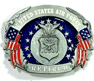 United States Air Force Retired Military Enameled Siskiyou Belt Buckle Vintage
