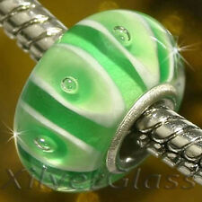 GLASS BEAD SILVER 925 FITS CHARM BRACELET GREEN OWL FITS EUROPEAN BRACELET