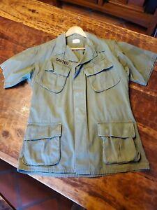 Vietnam Jungle Fatigue Cotton Shirt-Jacket Ripstop Slant Pocket  SZ Medium