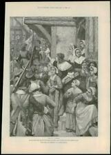 """1888 - Antique Print """"FOR FAITH AND FREEDOM"""" Walter Besant A Forestier  (058)"""