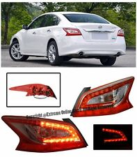 For 13-15 Nissan Altima JDM LED Rear Chrome Housing Red Lens Tail Light Lamps