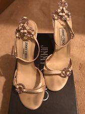 Jimmy Choo, Womens, Nude Sandals,Satin & Crystals,Wedding,Cocktail,Size 37/Uk4