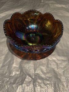 Vintage Circular Art Carnival Glass Bowl Large Rainbow Shine