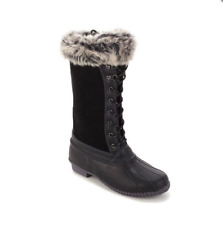 Sporto® Natasha; Waterproof Suede and Leather Duck Boot, Black 9W