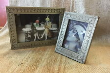 Picture Frame Set of 2 pieces White Embossed Metal on Wood 21x16 and 13x10cm