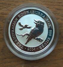 G059 AUSTRALIA 2004 $2 2OZ SILVER BU UNC KOOKABURRA COIN IN CAPSULE