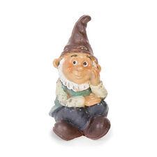 "Gnome Sitting, 3"" x 1.5"" x 1"" - Resin - Miniature Fairy Garden Dollhouse"