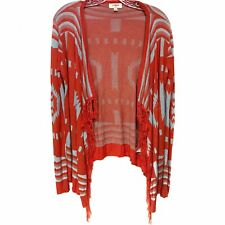 Umgee orange tribal print fringed cardigan medium