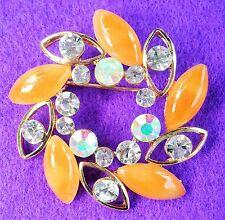 Lovely Open Circle Clear & Toffee Crystal Gold Tone Brooch / Lapel Pin 4 x 4cm