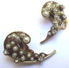 boucles d'oreilles clips vintage couleur or perle blanche cristal diamant 25