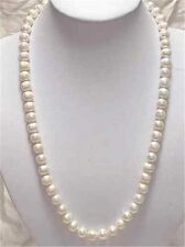 Natural! 7-8mm White Akoya Cultured Pearl Necklace 25""