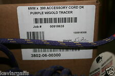 6mm X 50 Feet Teufelberger New England Accesory cord rope Purple color