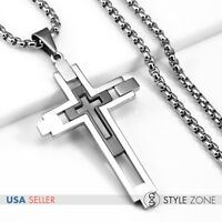Men/'s 3D Black Tone Stainless Steel Thick Large Cross Pendant Punk Rock Cool 5C