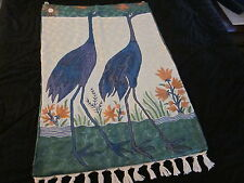 SILK HANDMADE WALL HANGING DERJEELING INDIA BLUE 1998 TWO PELICANS 35 x 23.5  #7