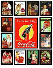13 VINTAGE COCA COLA AD PHOTO-FRIDGE MAGNETS