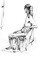 Print of digitalised pencil sketch nude figure 1990, A3+ Epson Matte Paper Print