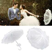 White Lace Flower Girl Battenburg Parasol Wedding Xmas Children Kid Umbrella