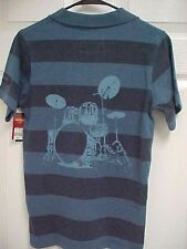 HARD ROCK CAFE Amsterdam Striped Drum Blue Men Short Sleeve Polo Shirt S New Tag