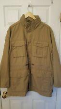 Eddie Bauer NWOT Mens L Khaki Hooded Lightweight Jacket Coat 9 pocket