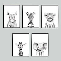 Safari Animal Picture Nursery Bedroom Wall Word Art Child Toddler Bedroom Lion