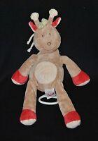 Peluche doudou girafe BENGY musical beige rouge crème 35 cm TTBE