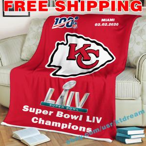 Kansas City Chiefs Super Bowl LIV Champions Fleece Blanket Thin Quilt Sofa Cover