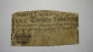 1754 Twenty Shillings North Carolina NC Colonial Currency Note Bill 20s March 17