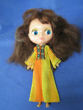 VINTAGE 1972 Kenner Blythe Doll Brunette Hair Orange & Yellow Dress