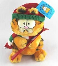 1981 Garfield Cat Plush Stuffed Animal w/Snow Skis, Christmas Hat/Scarf 9""