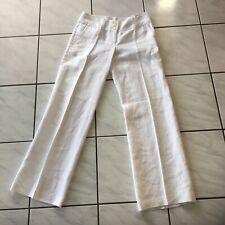 Ladies 4 10 Designer Linen white Michael Kors Trousers Pants wide leg flares