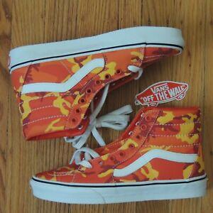 Vans Sk8-Hi Shoes Orange Camo Mens 7 Womens 8.5 Limited BMX Leather Lined NEW