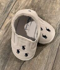Infant Boys White Ralph Lauren Polo Infant Slip-on Shoes Size 4C