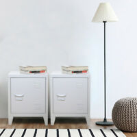 2Pcs Retro Locker Side Cabinets Vintage Industrial Delicate Bedside Tables