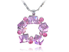 Rose Pink Berry Festive Five Cubes Wreath Crystal Element New Necklace