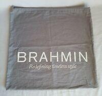 "Designer BRAHMIN Gray Fabric Dust Bag for Purse 17"" x 18"" Soft Felt Gray"