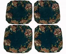 4 GABRIELLE TEAL Jacobean Floral 222 Fifth Square Scalloped DINNER Plates NIB