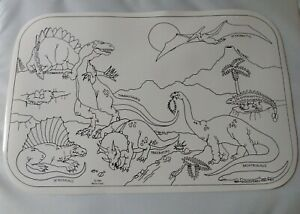 Set of 4 Colorable Dinosaur Wipe-Off Educational Placemats Vintage Lot Reusable