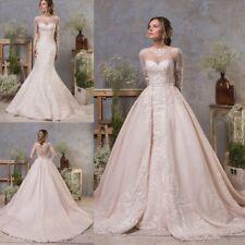 Wedding Dresses Detachable Train Long Sleeves Mermaid Bridal Ball Gowns Custom